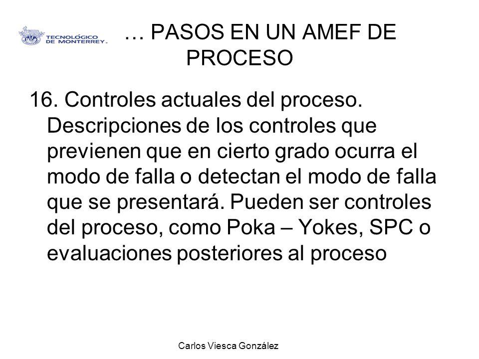 Carlos Viesca González … PASOS EN UN AMEF DE PROCESO 16. Controles actuales del proceso. Descripciones de los controles que previenen que en cierto gr