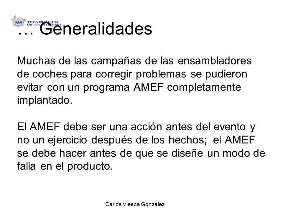 Carlos Viesca González … Generalidades Muchas de las campañas de las ensambladores de coches para corregir problemas se pudieron evitar con un program