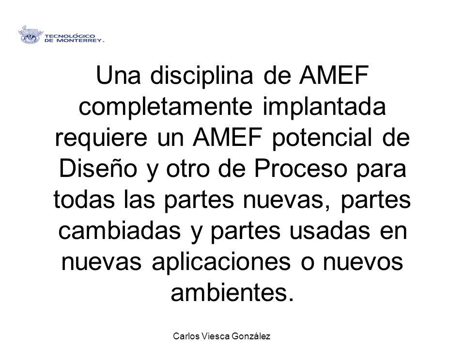 Carlos Viesca González Una disciplina de AMEF completamente implantada requiere un AMEF potencial de Diseño y otro de Proceso para todas las partes nu