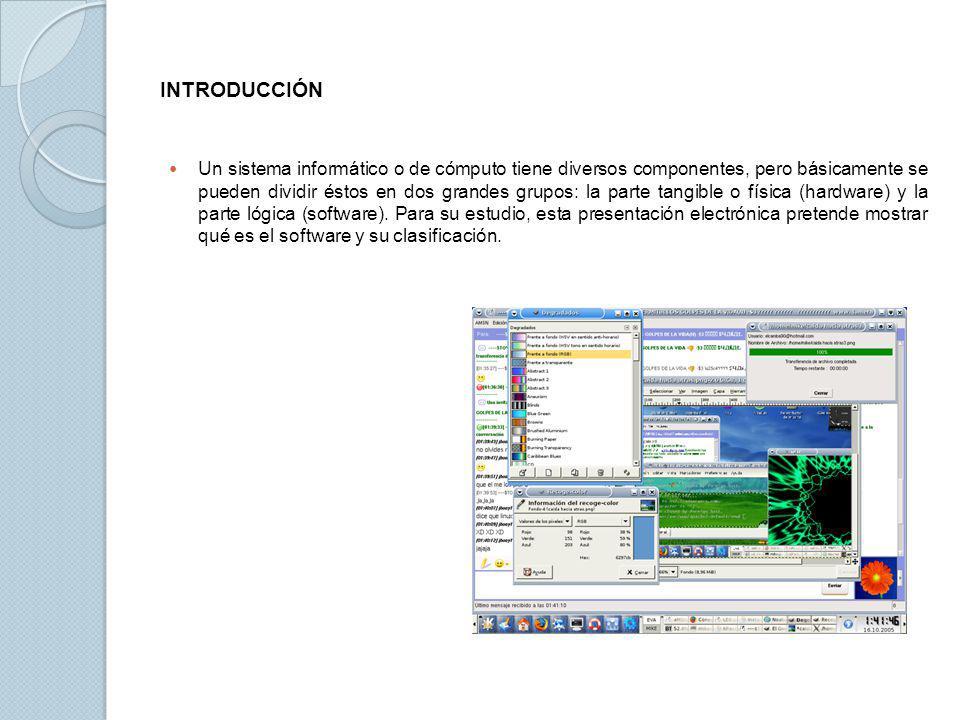 INTRODUCCIÓN Un sistema informático o de cómputo tiene diversos componentes, pero básicamente se pueden dividir éstos en dos grandes grupos: la parte