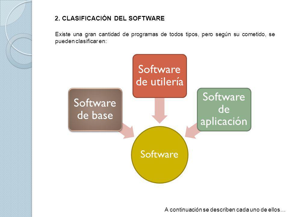 El software base o de sistema es aquel que se utiliza para controlar las operaciones de la propia computadora, es decir, toma el control cuando encendemos la computadora y realiza las primeras acciones.