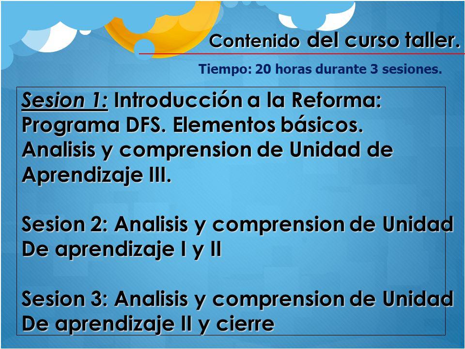 Contenido del curso taller. Sesion 1: Introducción a la Reforma: Programa DFS. Elementos básicos. Analisis y comprension de Unidad de Aprendizaje III.