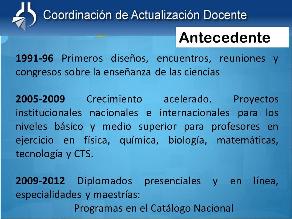 1991-96 Primeros diseños, encuentros, reuniones y congresos sobre la enseñanza de las ciencias 2005-2009 Crecimiento acelerado. Proyectos instituciona
