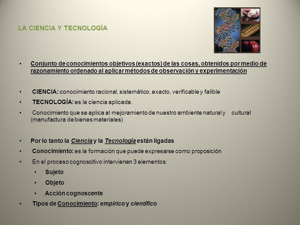 LA CIENCIA Y TECNOLOGÍA Conjunto de conocimientos objetivos (exactos) de las cosas, obtenidos por medio de razonamiento ordenado al aplicar métodos de