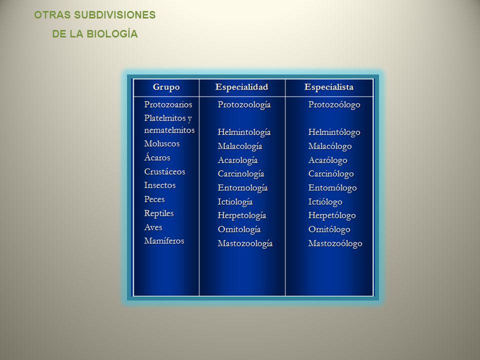 OTRAS SUBDIVISIONES DE LA BIOLOGÍA