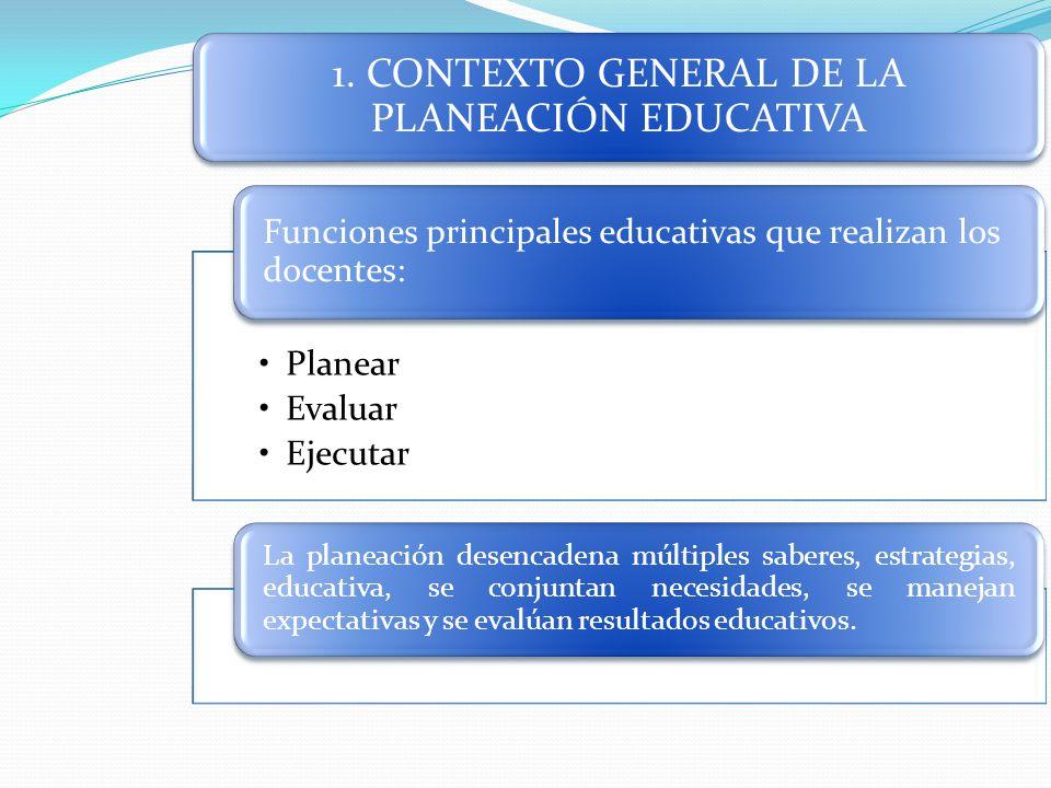 1. CONTEXTO GENERAL DE LA PLANEACIÓN EDUCATIVA Planear Evaluar Ejecutar Funciones principales educativas que realizan los docentes: La planeación dese