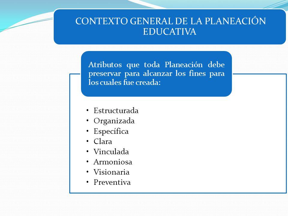 CONTEXTO GENERAL DE LA PLANEACIÓN EDUCATIVA Estructurada Organizada Específica Clara Vinculada Armoniosa Visionaria Preventiva Atributos que toda Plan