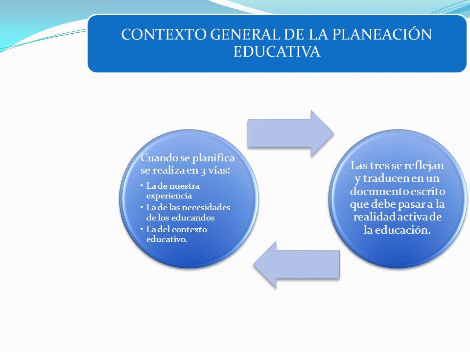 CONTEXTO GENERAL DE LA PLANEACIÓN EDUCATIVA Cuando se planifica se realiza en 3 vías: La de nuestra experiencia La de las necesidades de los educandos
