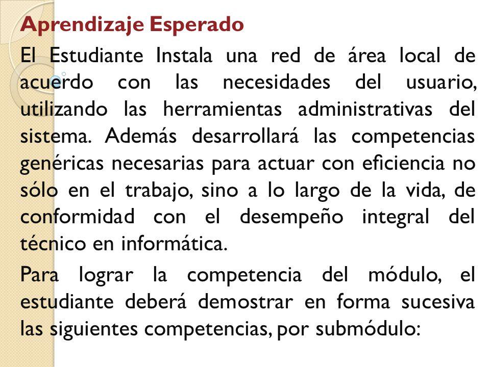 Aprendizaje Esperado El Estudiante Instala una red de área local de acuerdo con las necesidades del usuario, utilizando las herramientas administrativas del sistema.