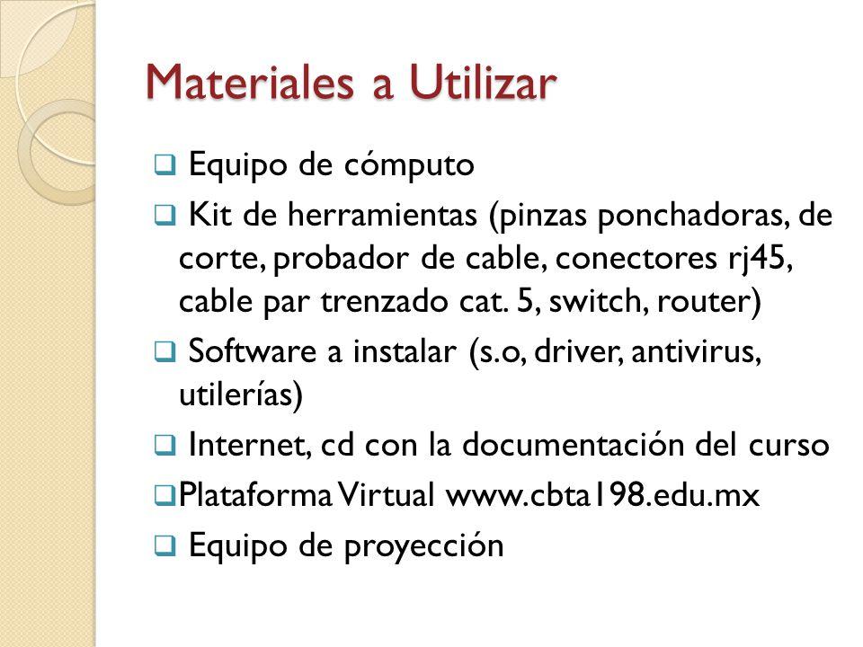 Materiales a Utilizar Equipo de cómputo Kit de herramientas (pinzas ponchadoras, de corte, probador de cable, conectores rj45, cable par trenzado cat.