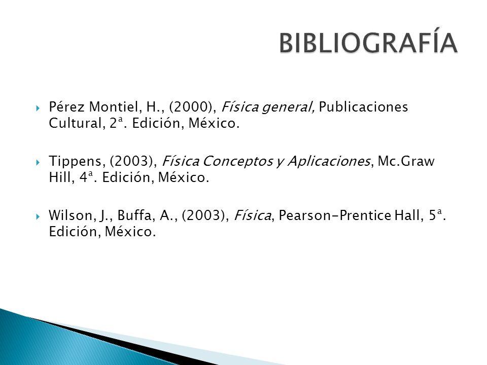 Pérez Montiel, H., (2000), Física general, Publicaciones Cultural, 2ª. Edición, México. Tippens, (2003), Física Conceptos y Aplicaciones, Mc.Graw Hill