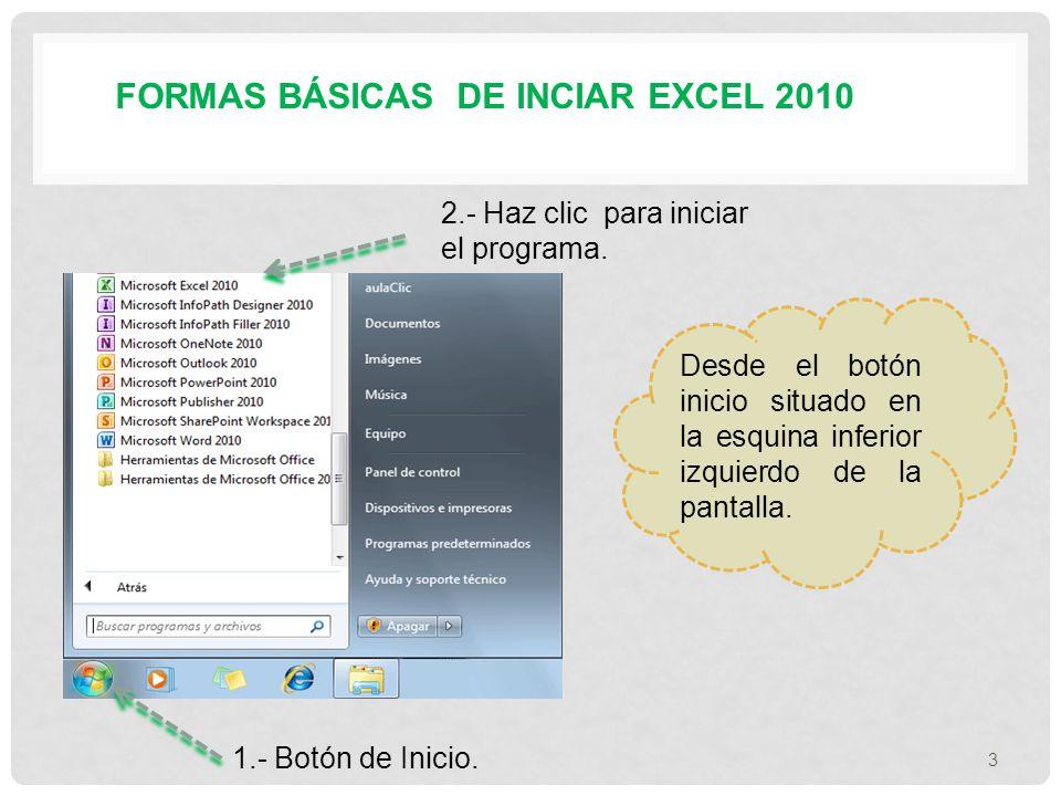 FORMAS BÁSICAS DE INCIAR EXCEL 2010 Desde el botón inicio situado en la esquina inferior izquierdo de la pantalla.