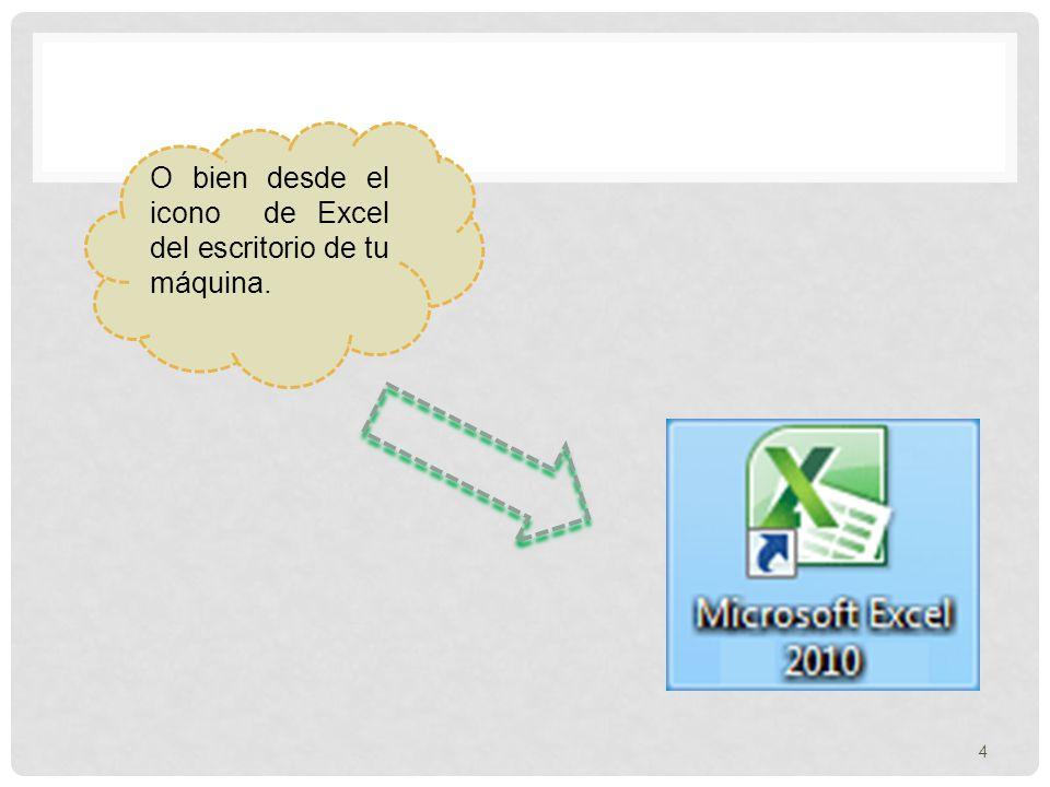 FORMAS BÁSICAS DE INCIAR EXCEL 2010 Desde el botón inicio situado en la esquina inferior izquierdo de la pantalla. 1.- Botón de Inicio. 2.- Haz clic p