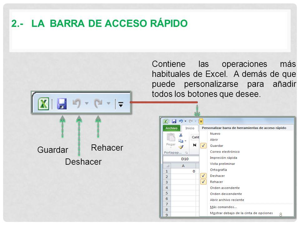 2.- LA BARRA DE ACCESO RÁPIDO Contiene las operaciones más habituales de Excel.
