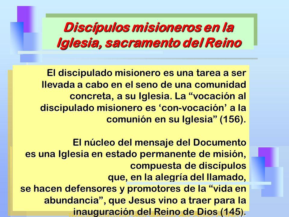 El discipulado misionero es una tarea a ser llevada a cabo en el seno de una comunidad concreta, a su Iglesia. La vocación al discipulado misionero es