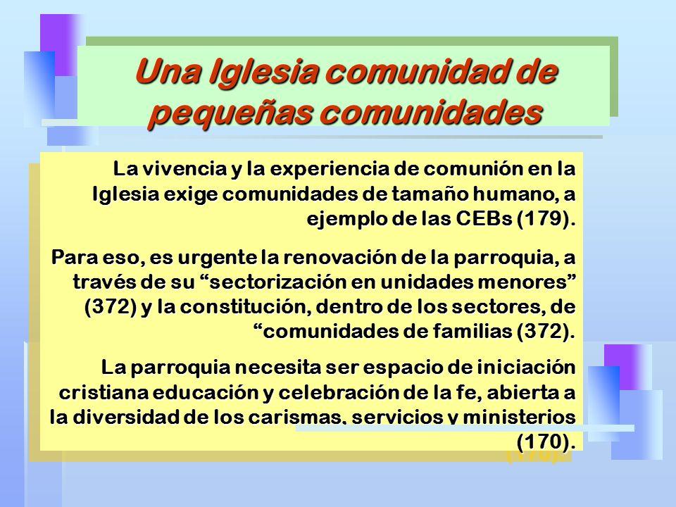 La vivencia y la experiencia de comunión en la Iglesia exige comunidades de tamaño humano, a ejemplo de las CEBs (179). Para eso, es urgente la renova