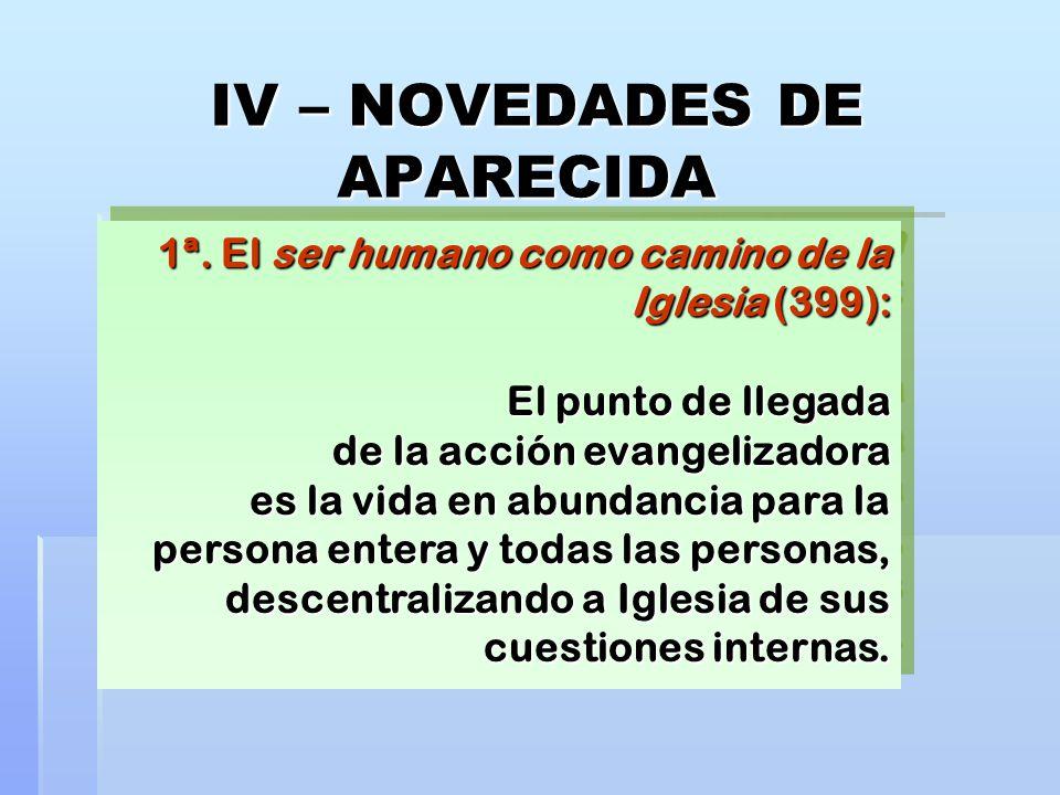 IV – NOVEDADES DE APARECIDA 1ª. El ser humano como camino de la Iglesia (399): El punto de llegada de la acción evangelizadora es la vida en abundanci