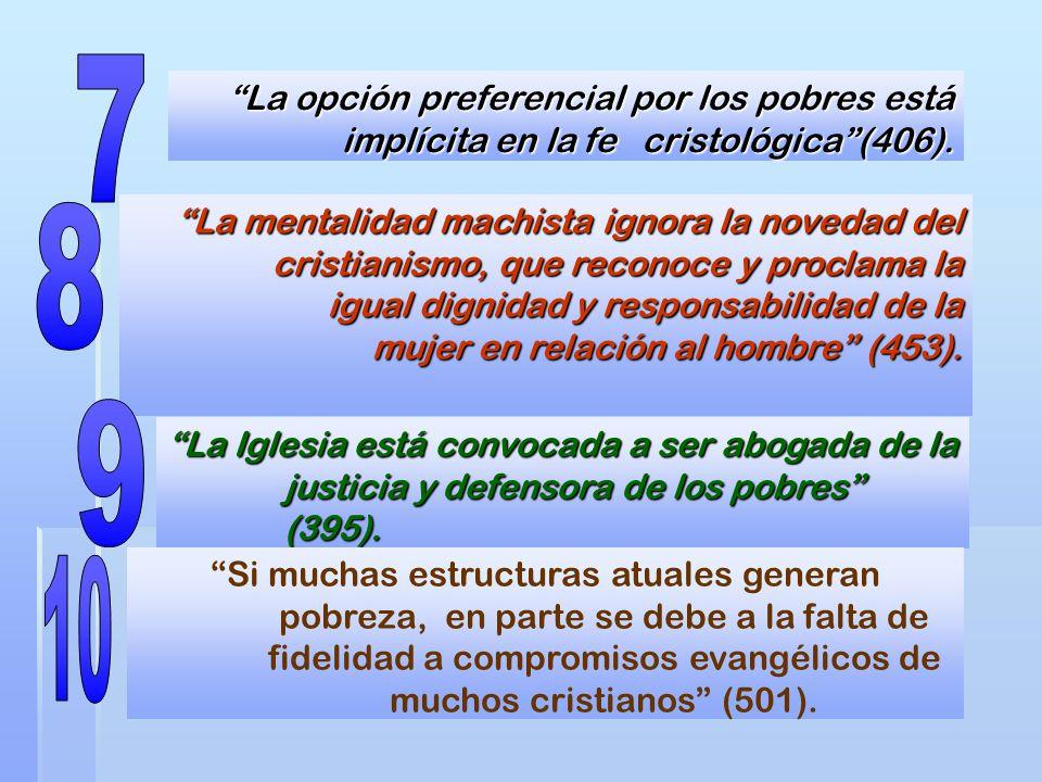 La opción preferencial por los pobres está implícita en la fe cristológica(406). La mentalidad machista ignora la novedad del cristianismo, que recono