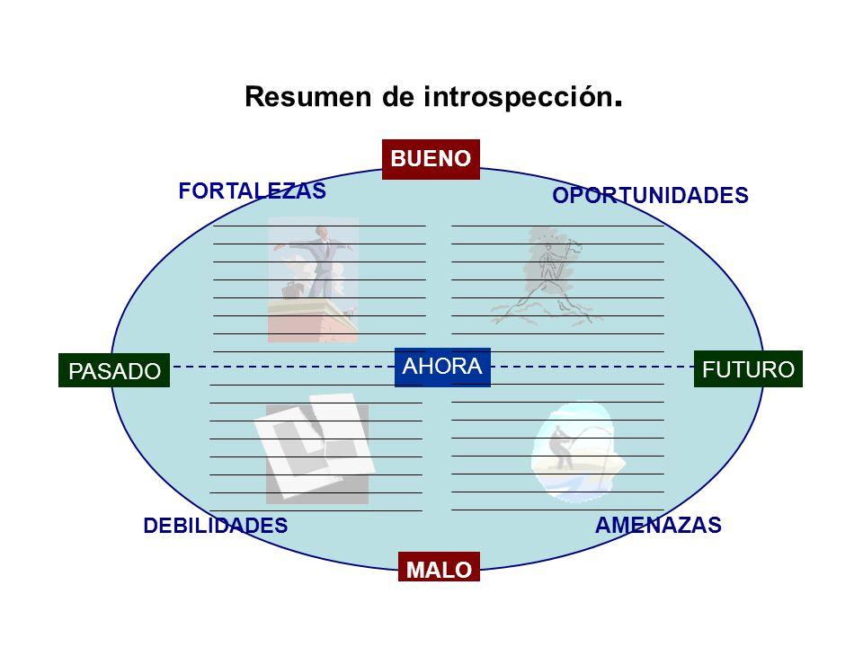 Resumen de introspección. FORTALEZAS OPORTUNIDADES DEBILIDADES AMENAZAS MALO BUENO FUTURO AHORA PASADO