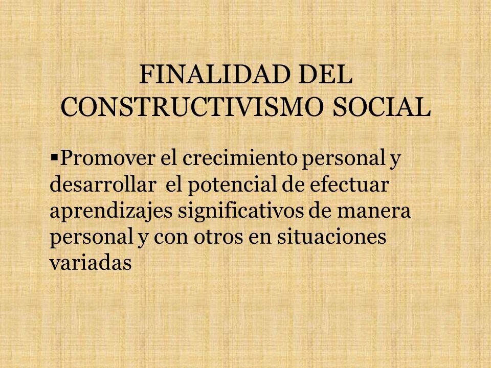 FINALIDAD DEL CONSTRUCTIVISMO SOCIAL Promover el crecimiento personal y desarrollar el potencial de efectuar aprendizajes significativos de manera personal y con otros en situaciones variadas