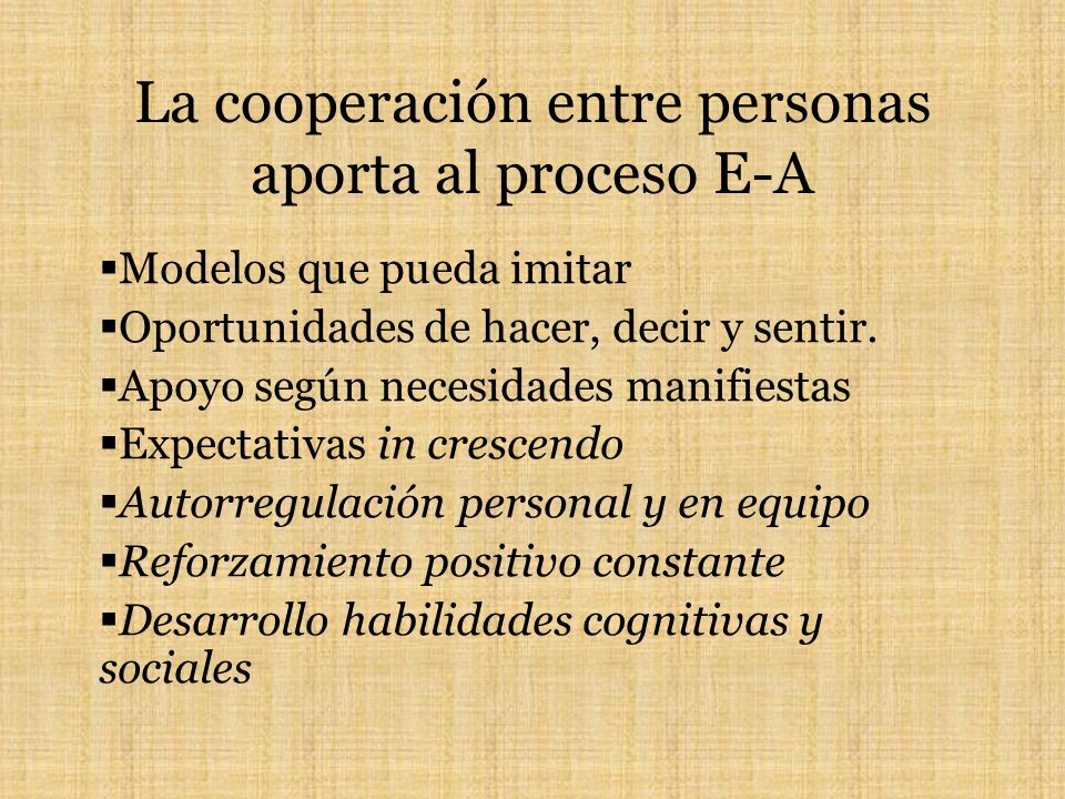 La cooperación entre personas aporta al proceso E-A Modelos que pueda imitar Oportunidades de hacer, decir y sentir. Apoyo según necesidades manifiest