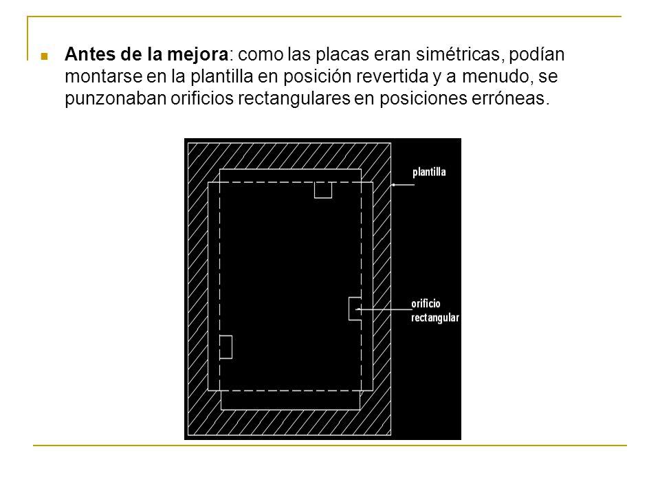 Antes de la mejora: como las placas eran simétricas, podían montarse en la plantilla en posición revertida y a menudo, se punzonaban orificios rectang
