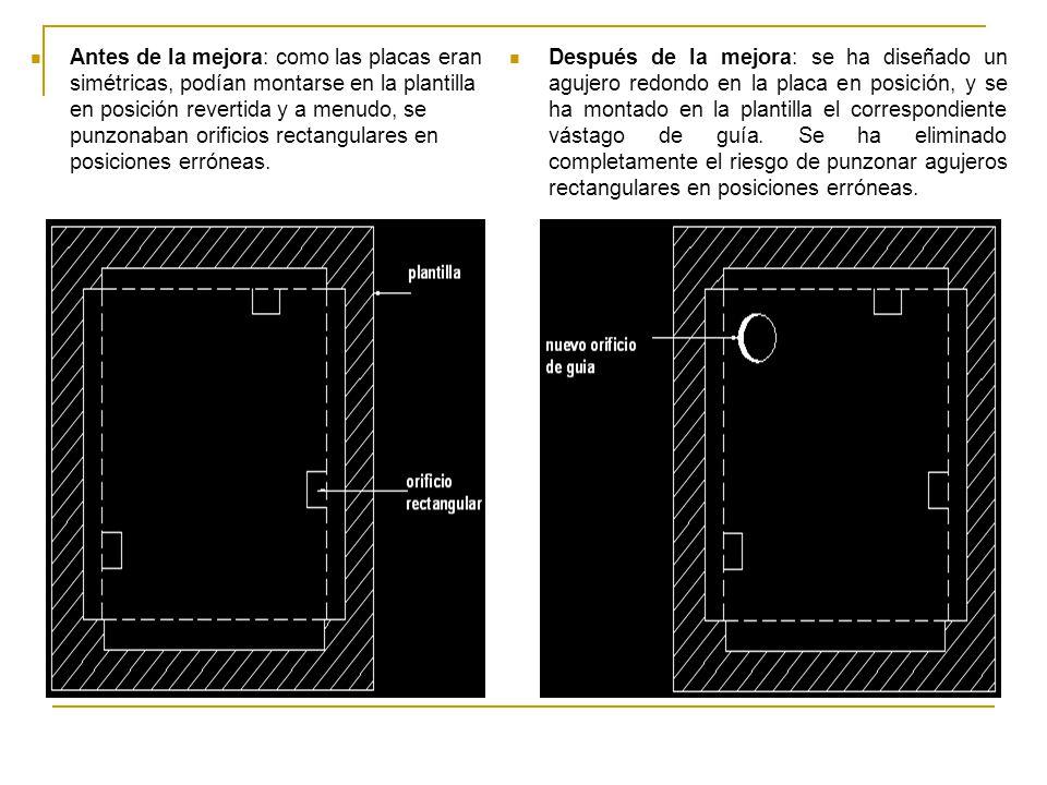 Después de la mejora: se ha diseñado un agujero redondo en la placa en posición, y se ha montado en la plantilla el correspondiente vástago de guía. S