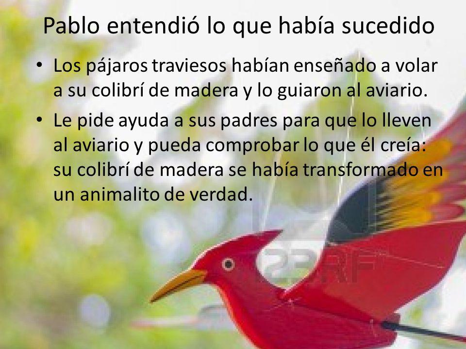Pablo entendió lo que había sucedido Los pájaros traviesos habían enseñado a volar a su colibrí de madera y lo guiaron al aviario. Le pide ayuda a sus
