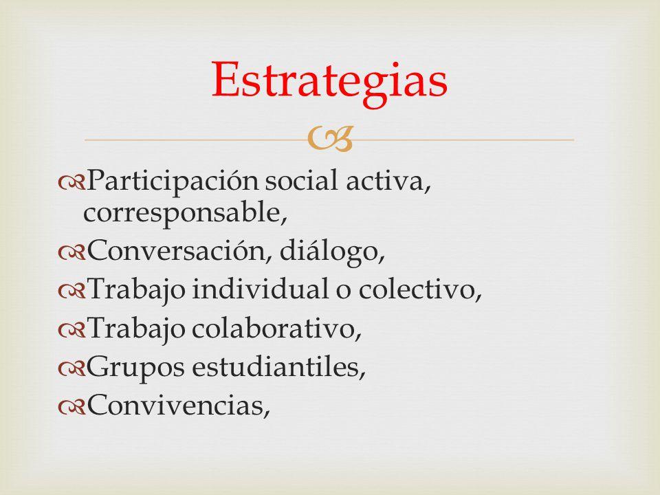 Participación social activa, corresponsable, Conversación, diálogo, Trabajo individual o colectivo, Trabajo colaborativo, Grupos estudiantiles, Conviv
