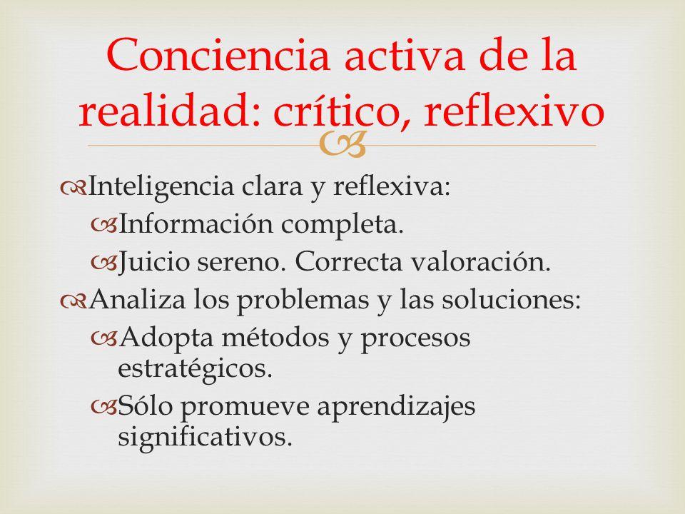 Inteligencia clara y reflexiva: Información completa. Juicio sereno. Correcta valoración. Analiza los problemas y las soluciones: Adopta métodos y pro