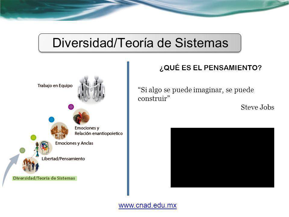 Diversidad/Teoría de Sistemas ¿QUÉ ES EL PENSAMIENTO? Si algo se puede imaginar, se puede construir Steve Jobs www.cnad.edu.mx