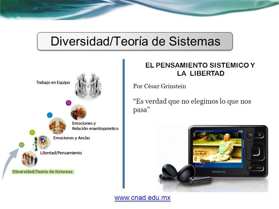 Diversidad/Teoría de Sistemas EL PENSAMIENTO SISTEMICO Y LA LIBERTAD Por César Grinstein Es verdad que no elegimos lo que nos pasa www.cnad.edu.mx
