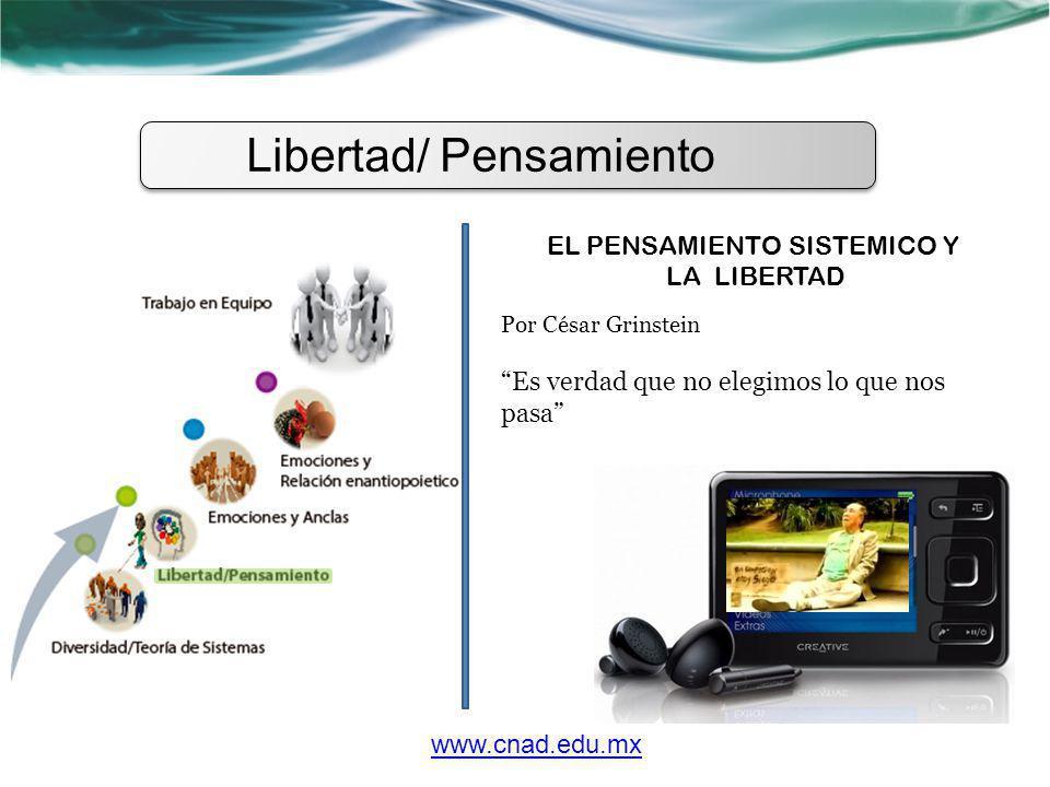 Libertad/ Pensamiento EL PENSAMIENTO SISTEMICO Y LA LIBERTAD Por César Grinstein Es verdad que no elegimos lo que nos pasa www.cnad.edu.mx