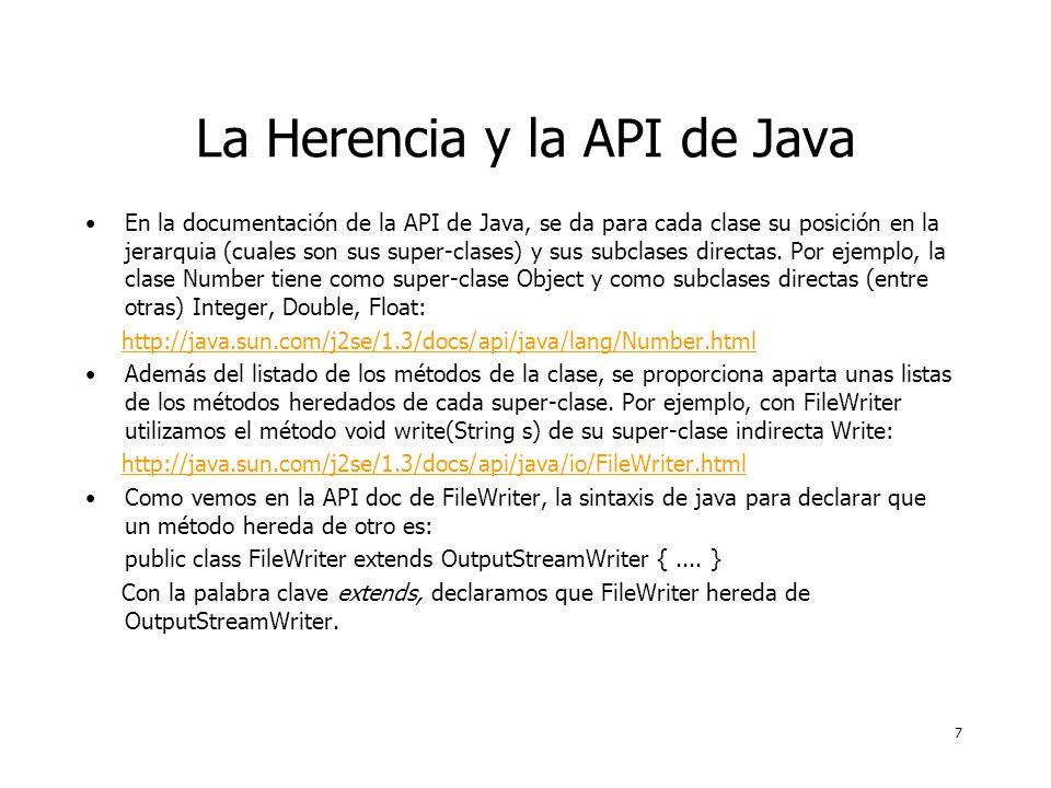 7 La Herencia y la API de Java En la documentación de la API de Java, se da para cada clase su posición en la jerarquia (cuales son sus super-clases) y sus subclases directas.