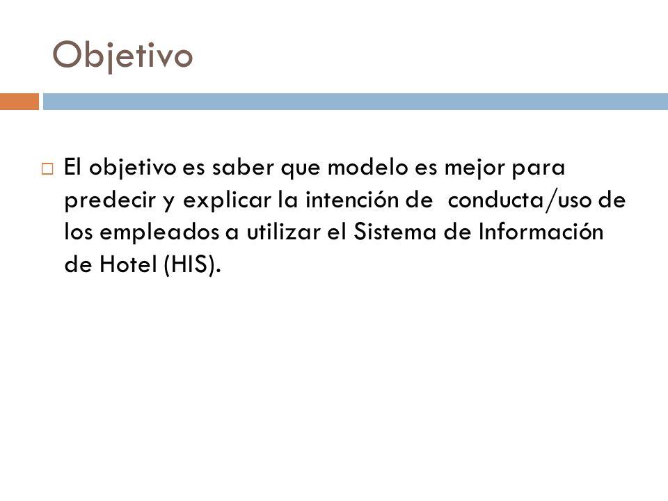 Objetivo El objetivo es saber que modelo es mejor para predecir y explicar la intención de conducta/uso de los empleados a utilizar el Sistema de Info