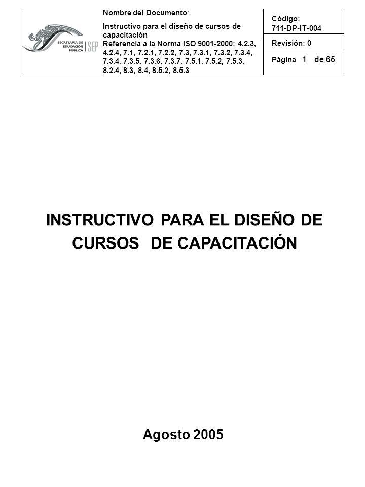 Nombre del Documento: Instructivo para el diseño de cursos de capacitación Referencia a la Norma ISO 9001-2000: 4.2.3, 4.2.4, 7.1, 7.2.1, 7.2.2, 7.3, 7.3.1, 7.3.2, 7.3.4, 7.3.4, 7.3.5, 7.3.6, 7.3.7, 7.5.1, 7.5.2, 7.5.3, 8.2.4, 8.3, 8.4, 8.5.2, 8.5.3 Código: 711-DP-IT-004 Revisión: 0 Página de 65 Elementos principales de la Guía de instrucción La manera de estructurar didácticamente los elementos para los cursos de capacitación son: 1er paso: Establecer los datos generales de identificación Datos de identificación: - Logo de la Institución - Créditos y nombre de la institución - Nombre del curso de capacitación - Objetivo general del curso de capacitación - Tipo de evento de capacitación:(Curso, Taller, Curso--Taller, Diplomado, etc.) - Tipo de personal al que va dirigido por ejemplo: Operativo, Enlace, Jefe de departamento, Subdirectores, Directores.
