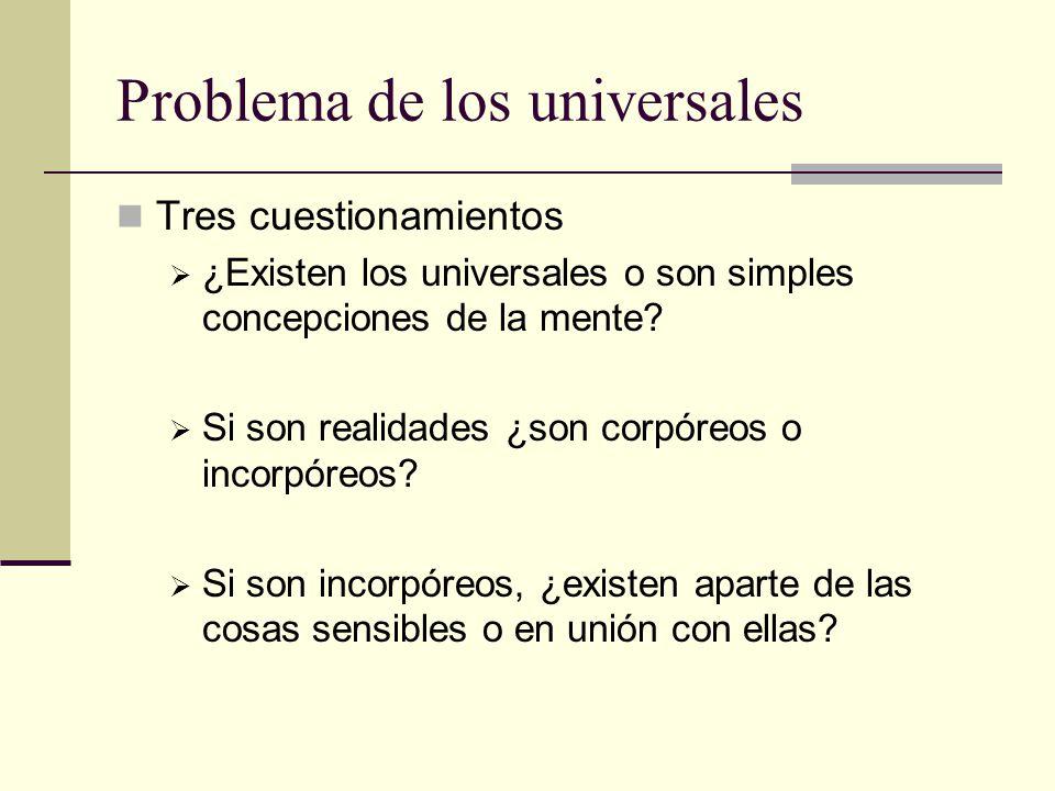 Problema de los universales Tres cuestionamientos ¿Existen los universales o son simples concepciones de la mente? Si son realidades ¿son corpóreos o