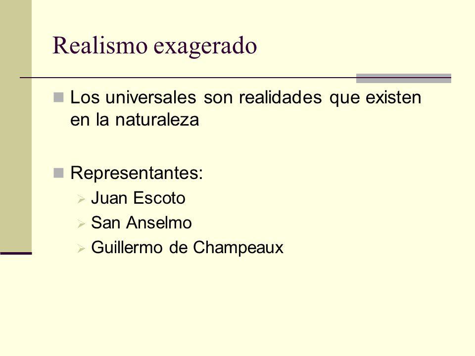 Realismo exagerado Los universales son realidades que existen en la naturaleza Representantes: Juan Escoto San Anselmo Guillermo de Champeaux