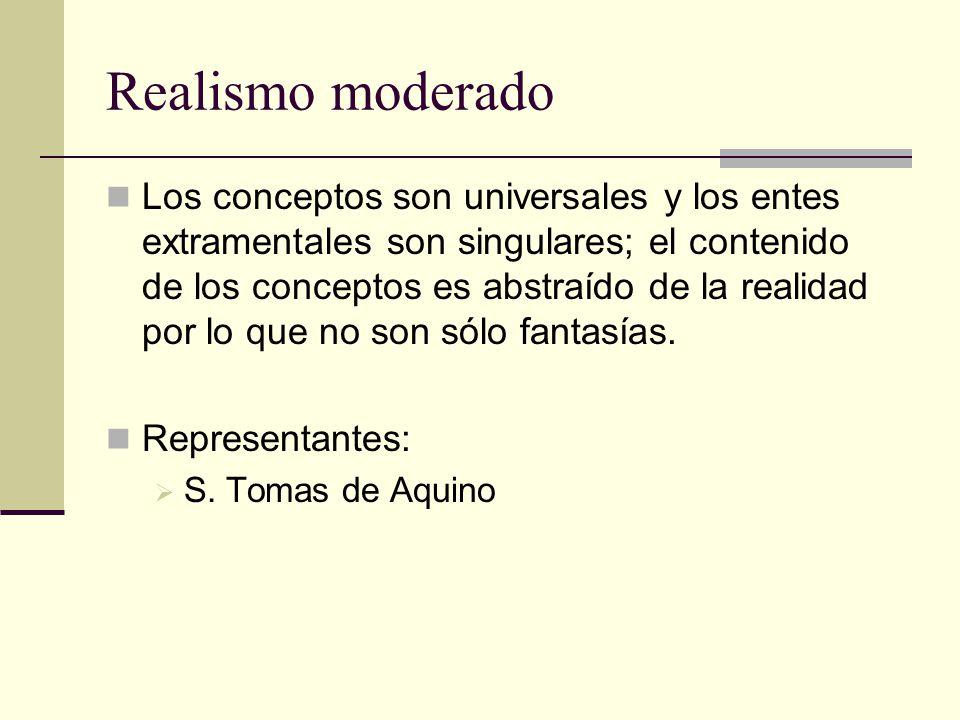 Realismo moderado Los conceptos son universales y los entes extramentales son singulares; el contenido de los conceptos es abstraído de la realidad po