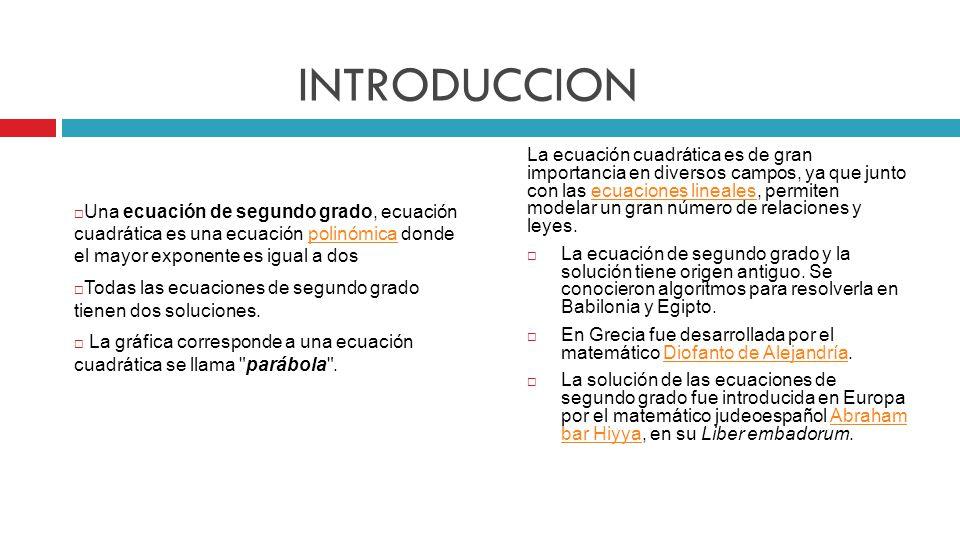Tareas Investiga el concepto de ecuación cuadrática, escríbelo y enseguida explícalo con tus palabras.