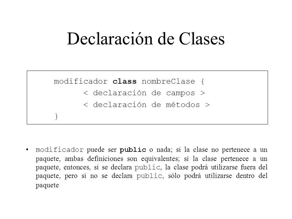 Declaración de Clases modificador class nombreClase { } modificador puede ser public o nada; si la clase no pertenece a un paquete, ambas definiciones