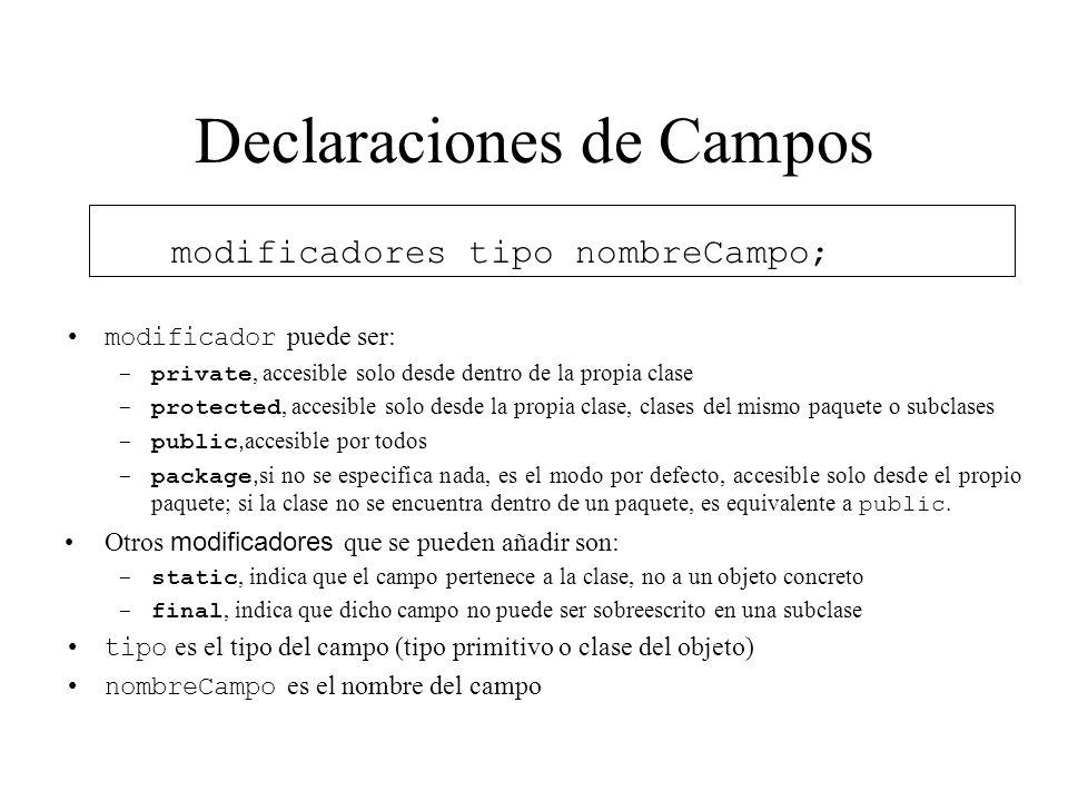 Declaraciones de Campos modificadores tipo nombreCampo; modificador puede ser: -private, accesible solo desde dentro de la propia clase -protected, ac