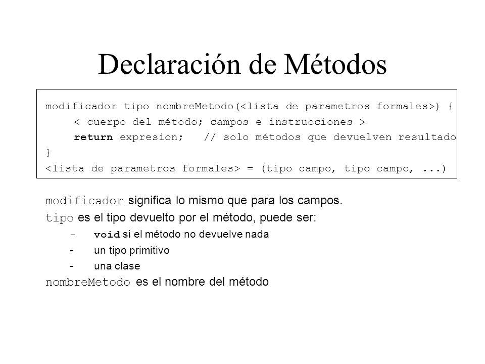 Declaración de Métodos modificador tipo nombreMetodo( ) { return expresion; // solo métodos que devuelven resultado } = (tipo campo, tipo campo,...) m