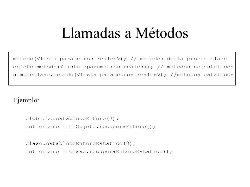 Llamadas a Métodos metodo( ); // metodos de la propia clase objeto.metodo( ); // metodos no estaticos nombreclase.metodo( ); //metodos estaticos Ejemp