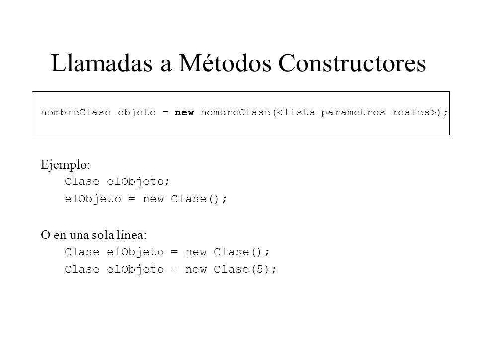 Llamadas a Métodos Constructores nombreClase objeto = new nombreClase( ); Ejemplo: Clase elObjeto; elObjeto = new Clase(); O en una sola línea: Clase