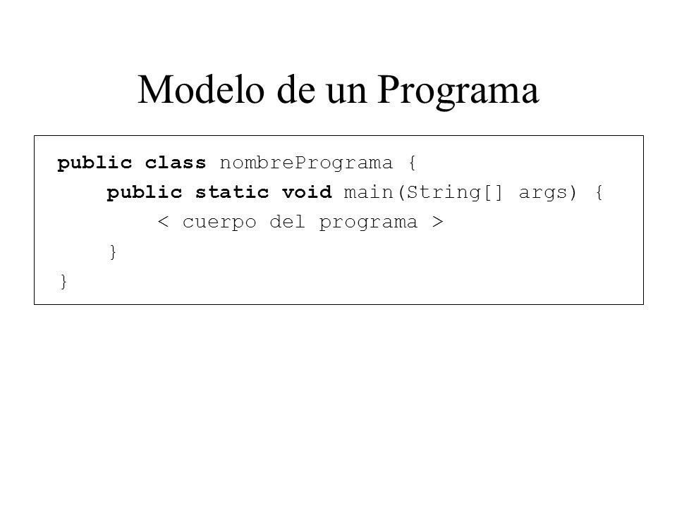 Modelo de un Programa public class nombrePrograma { public static void main(String[] args) { }