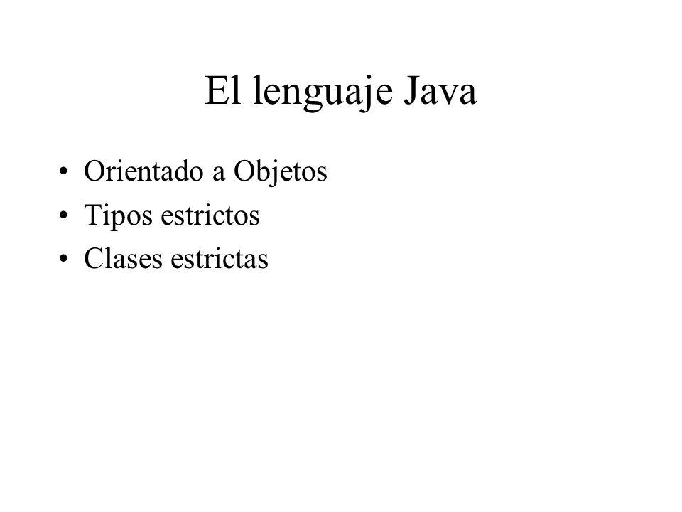 El lenguaje Java Orientado a Objetos Tipos estrictos Clases estrictas