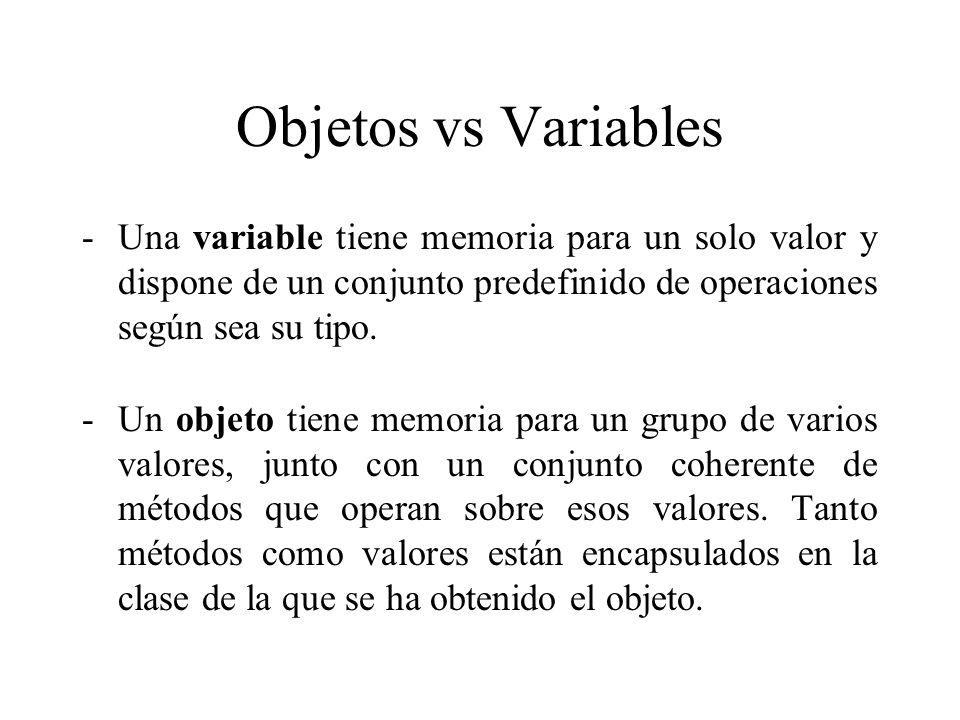 Objetos vs Variables -Una variable tiene memoria para un solo valor y dispone de un conjunto predefinido de operaciones según sea su tipo. -Un objeto