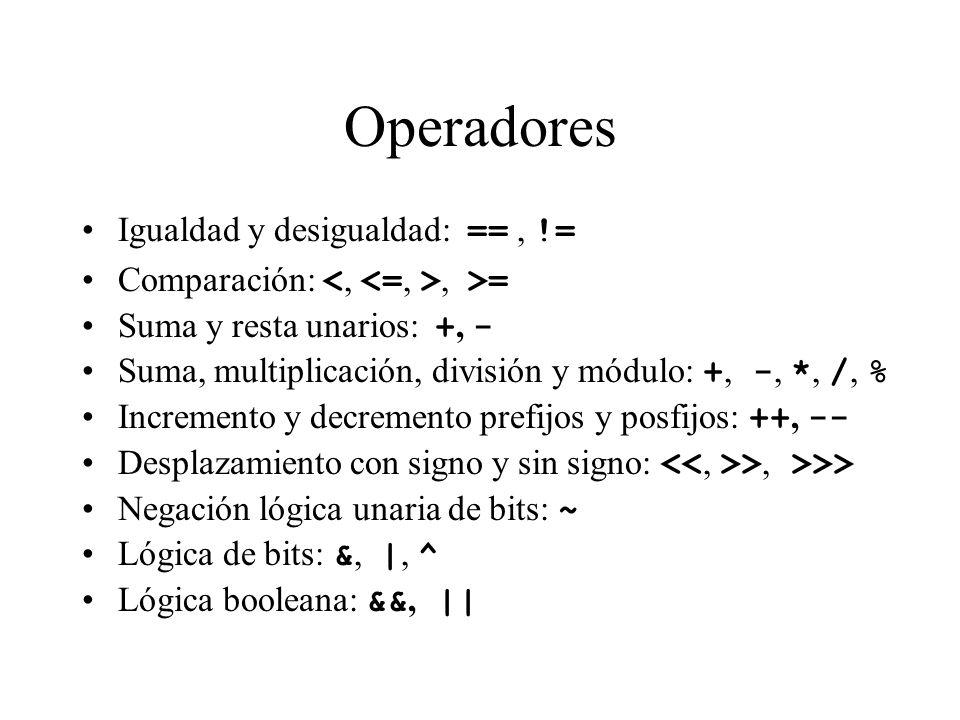 Operadores Igualdad y desigualdad: ==, != Comparación:, >= Suma y resta unarios: +, - Suma, multiplicación, división y módulo: +, -, *, /, % Increment