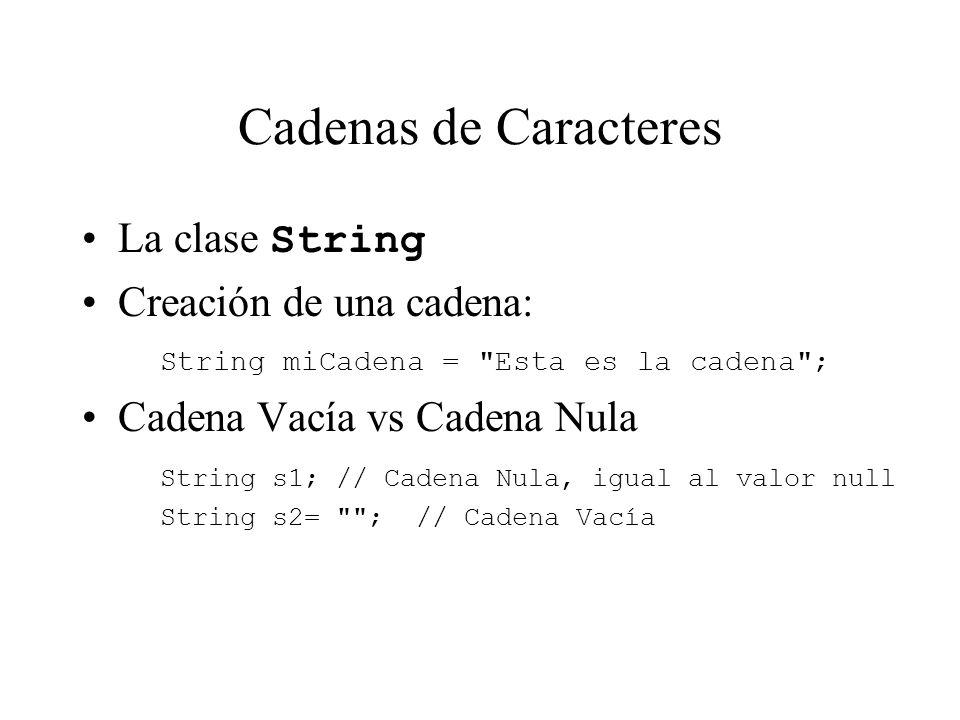 Cadenas de Caracteres La clase String Creación de una cadena: String miCadena =